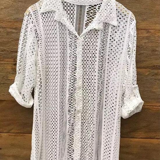 Camisa De Praia Renda Off White