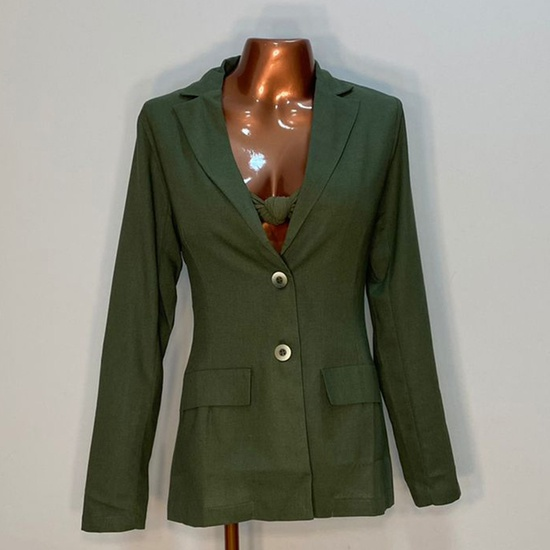 Blazer Ana Plus Size Verde Militar