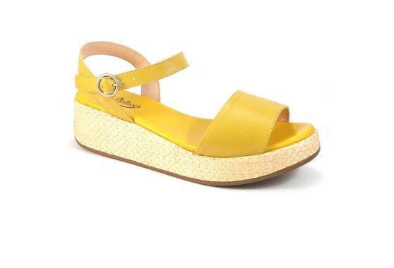Anabela Confortável em Couro - Amarela