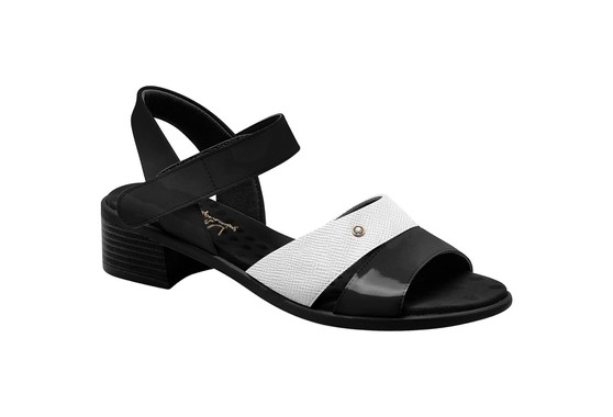 Sandália Salto Baixo - Preto e Branca