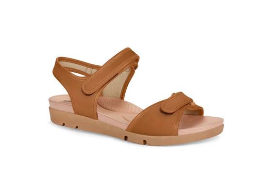 Sandália Feminina com Regulagem em Velcro - Caramelo