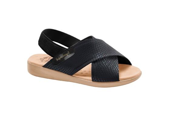 Sandália para Senhoras Esporão e Fascite - Lycra Snake Preta / Sola Areia