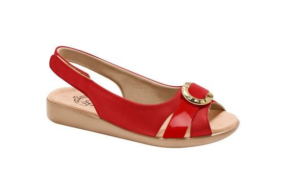 Sandália Feminina para Esporão e Fascite com Velcro -Scarlat / Vermelha