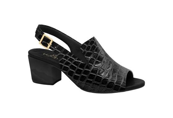 Sandália Ankle Boot Confortável - Croco Preta