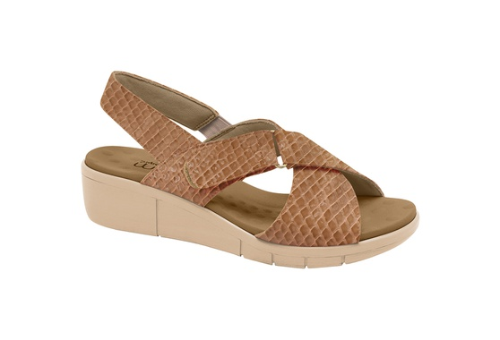 Sandália Esporão e Fascite com Vecro - Cobra Gloss Tan