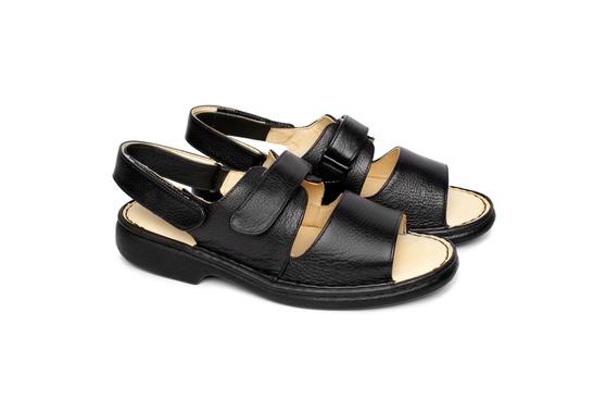 Sandália de Couro com Velcro - Preta