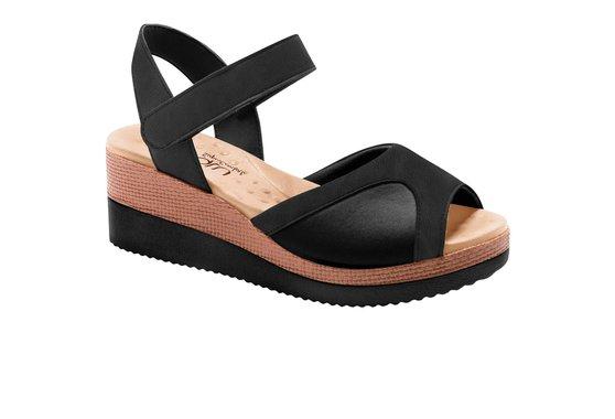 87a0ae786 Sandália Anabela para Joanete - Preta | Pé Relax Sapatos Confortáveis