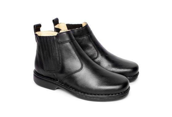 36dbf7aa8 Bota em Couro Masculina - Preta | Pé Relax Sapatos Confortáveis