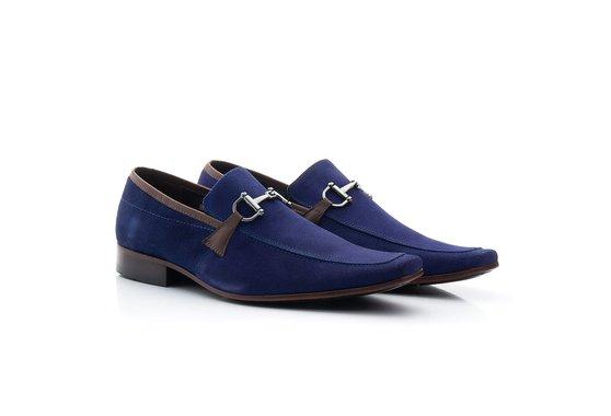 Sapato Masculino Casual Nobuck Azul