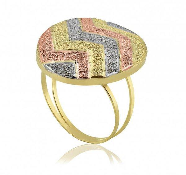 Anel em Ouro 18K Botão Zigzag Tricolor diamantado