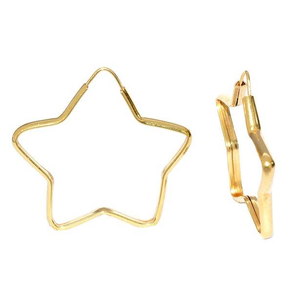 Brinco em Ouro 18K Argola Estrela de 25mm