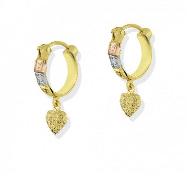 Brinco em Ouro 18K Argola Tricolor diamantada com coração