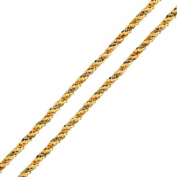 Corrente em Ouro 18K Corda 3 Ouros de 2,3mm com 40cm