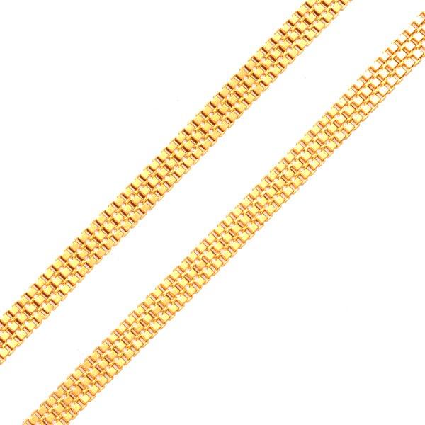 Corrente em Ouro 18K Veneziana Tripla de 1,5mm com 40cm