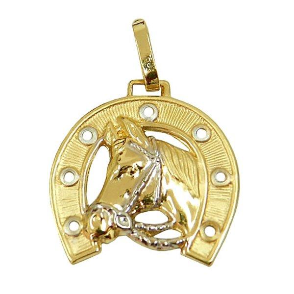 Pingente em Ouro 18K Cavalo com Ferradura 22mm