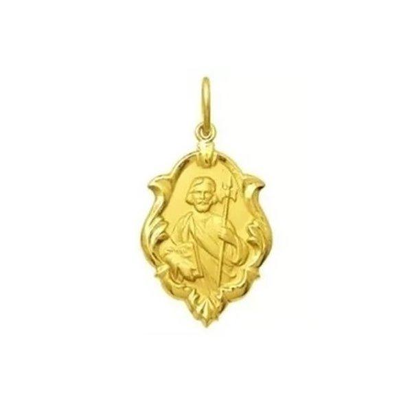 Pingente em Ouro 18K Medalha de São Judas Tadeu com 18mm