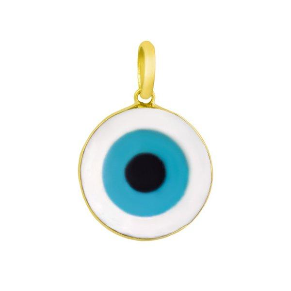 Pingente em Ouro 18k Olho Grego em Madrepérola Redondo de 10mm
