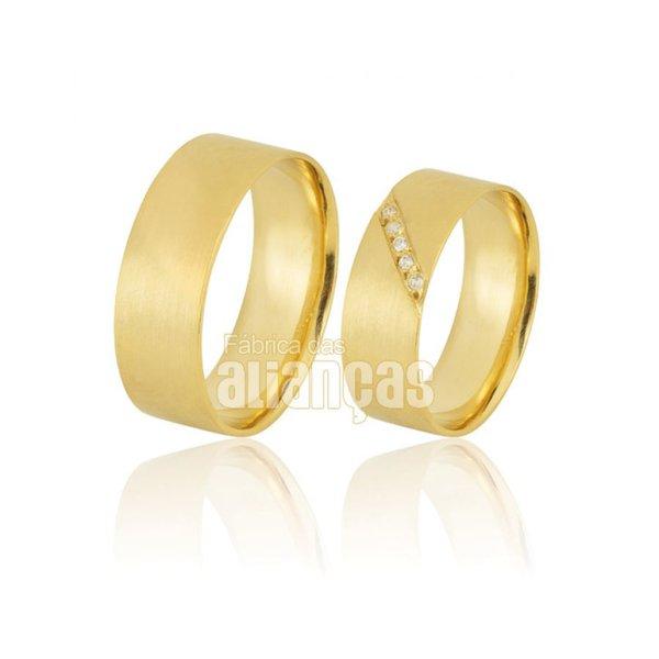 Alianças de Noivado e Casamento em Ouro Amarelo 18k 0,750 FA-889