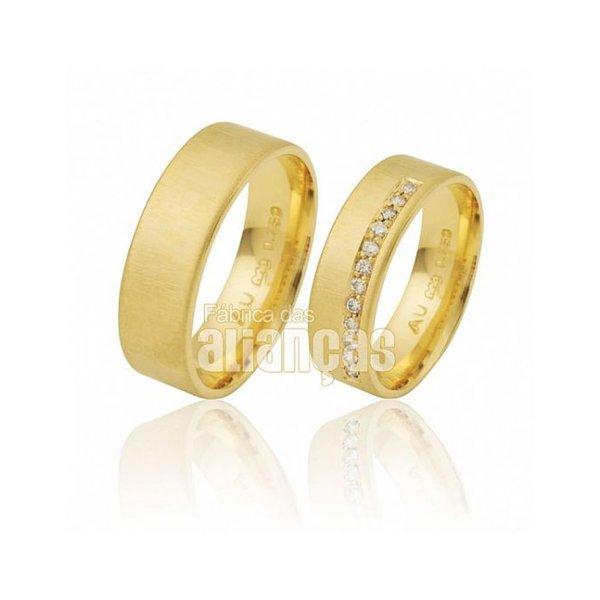 Alianças de Noivado e Casamento em Ouro Amarelo 18k 0,750 FA-281