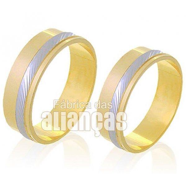 Alianças de Bodas em Ouro Amarelo 18k 0,750 FA-226
