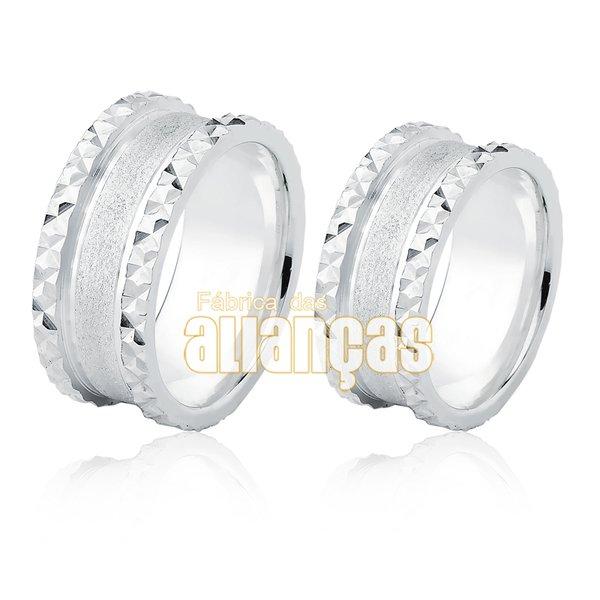 Alianças em Prata 0,950 k diamantada