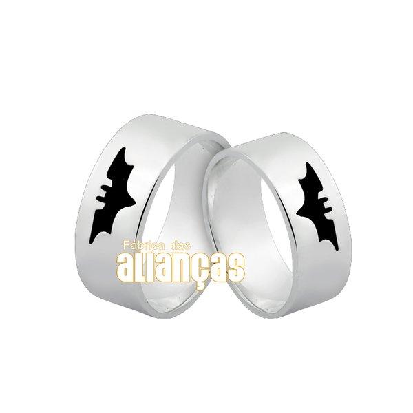 Par de Aliança em Prata 0,950 k Personalizada com morcego