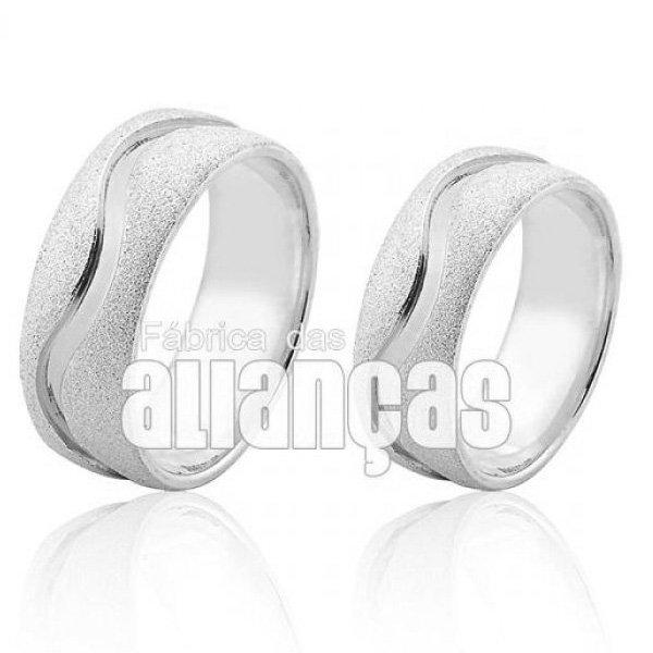 Aliança em Prata 0,950 k Diamantada com Friso