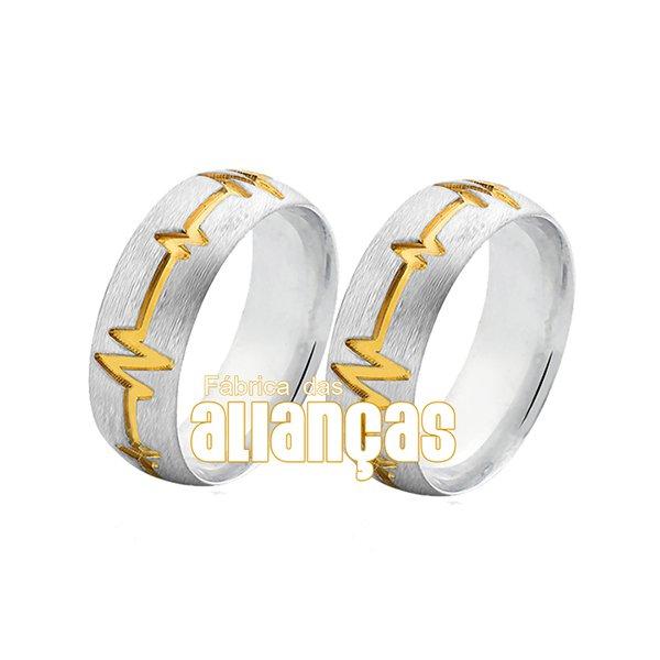 Aliança em Prata 0,950 com batimento folhado a ouro