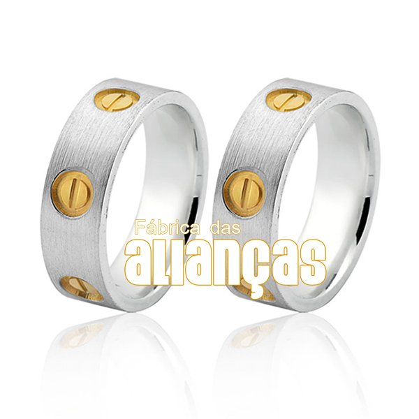 Aliança em Prata com detalhes folheados a ouro 18k