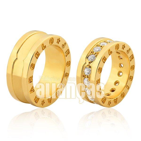 Alianças de Noivado e Casamento em Ouro Amarelo 18k 0,750 FA-1002