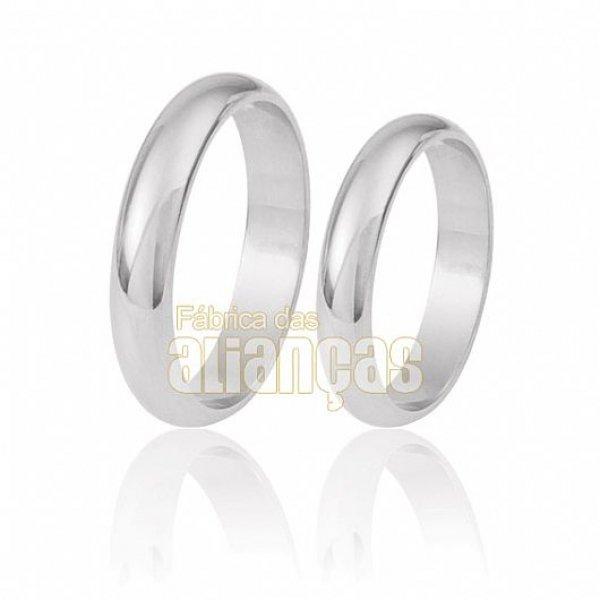 Alianças de Noivado e Casamento em Ouro Branco 18k 0,750 FA-10-B