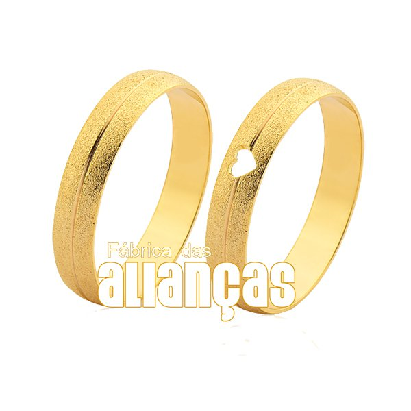 Alianças de Noivado e Casamento em Ouro Amarelo 18k 0,750 FA-1015