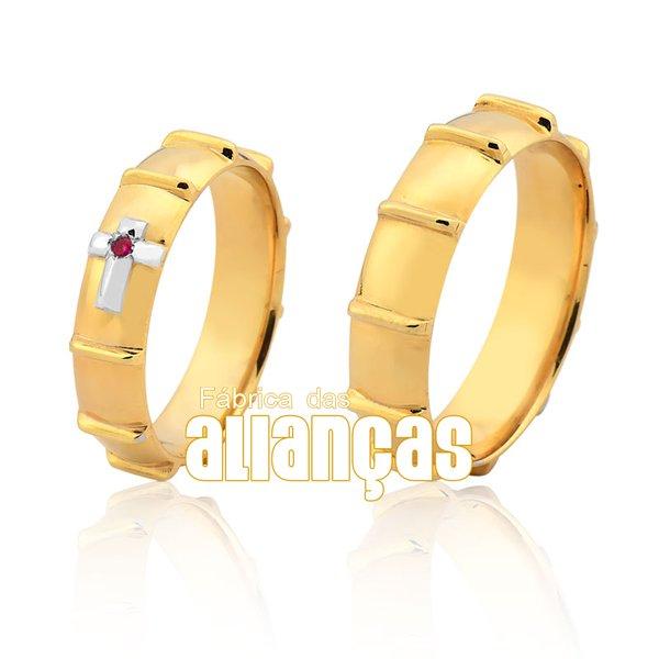 Alianças de Noivado e Casamento em Ouro Amarelo 18k 0,750 FA-1031