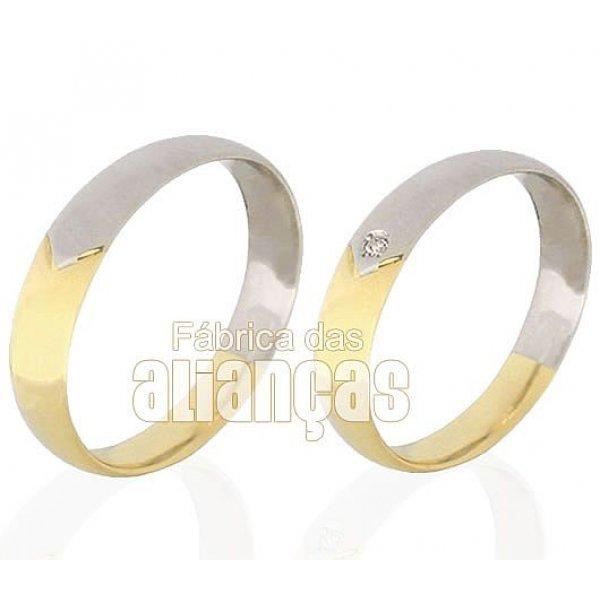 Alianças duas cores de ouro 18k anatomicas com diamantes