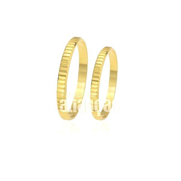 Alianças de Noivado e Casamento em Ouro Amarelo 18k 0,750 FA-174