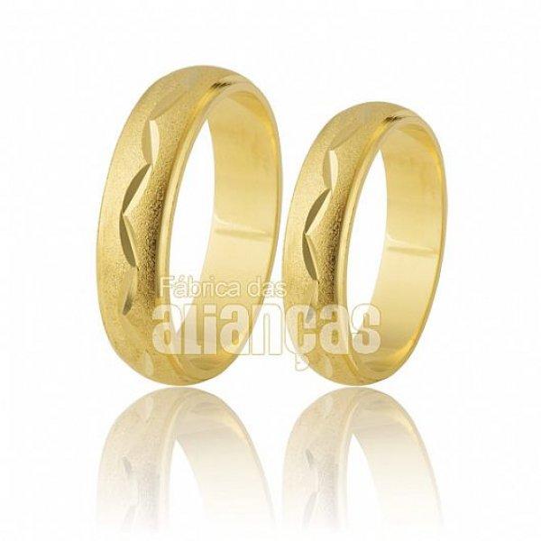 Alianças de Noivado e Casamento em Ouro Amarelo 18k 0,750 FA-201