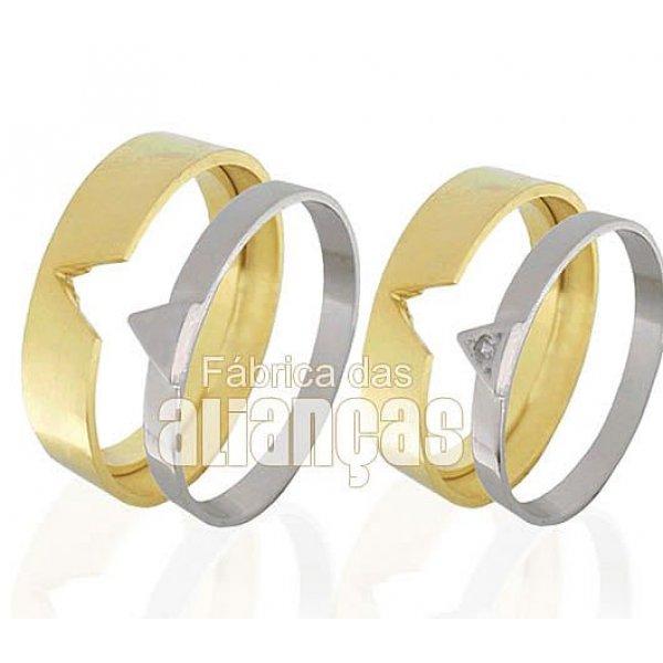 Alianças de Noivado e Casamento em Ouro Amarelo e Branco 18k 0,750 FA-426