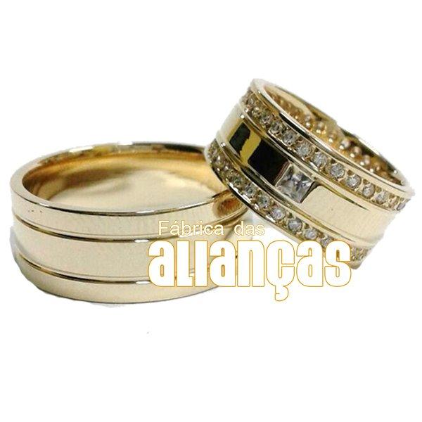 Alianças de Noivado e Casamento em Ouro 18k 0,750 FA-1122-Z