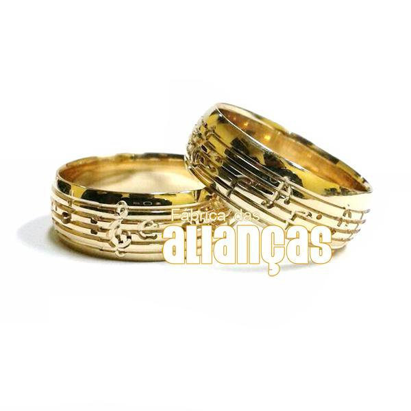 Alianças de Noivado e Casamento em Ouro Amarelo 18k 0,750 FA-40-Musical