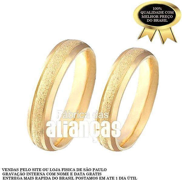 Alianças de Noivado e Casamento em Ouro Amarelo 18k 0,750 FA-202