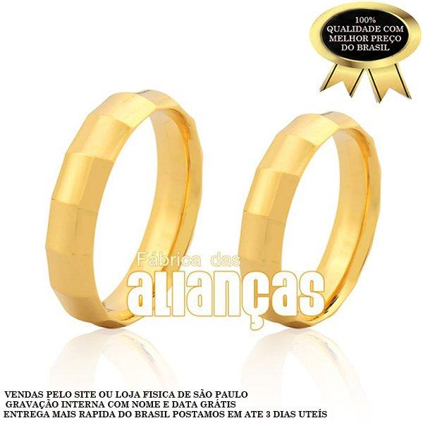 Alianças de Noivado e Casamento em Ouro Amarelo 18k 0,750 FA-203
