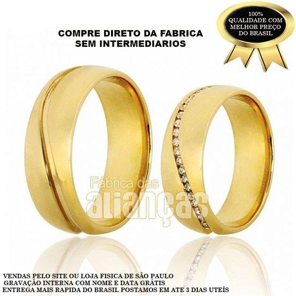 Alianças de Noivado e Casamento em Ouro Amarelo 18k 0,750 FA-614