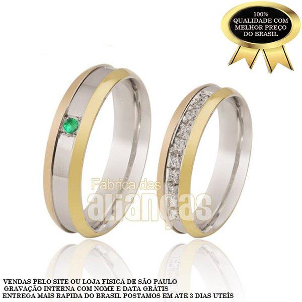 Alianças de Noivado e Casamento em Ouro Branco 18k 0,750 FA-113-Esmeralda