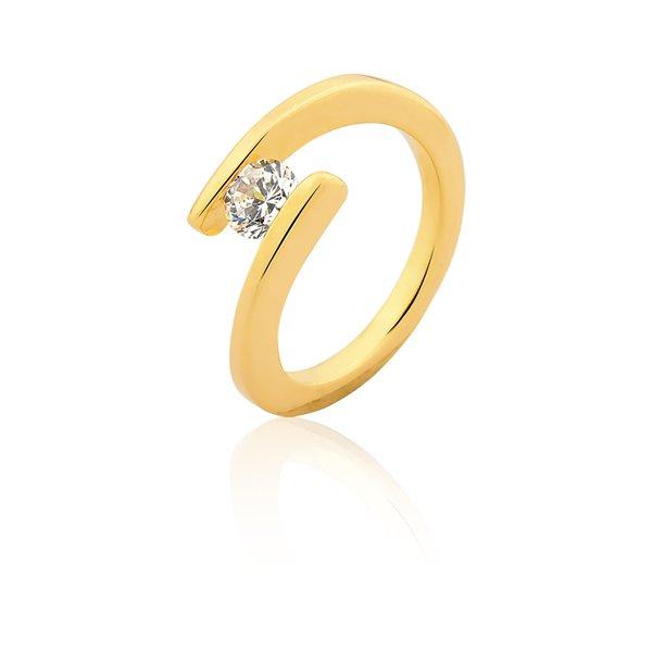 Anel Solitário em Ouro Amarelo 18k 0,750 S-53