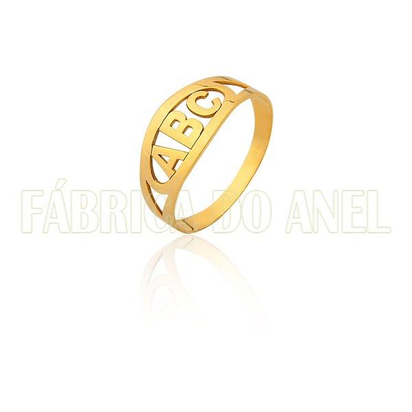 Anel de Formatura Infantil em Ouro Amarelo 18k 0,750 FA-189-ABC