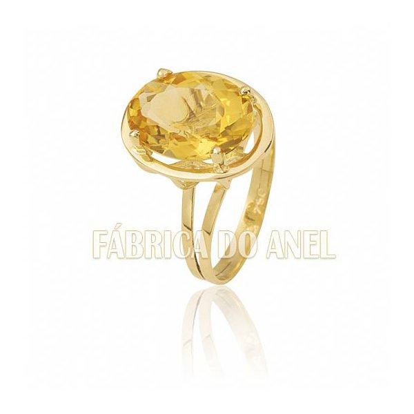 Anel Feminino Topázio Amarelo em Ouro Amarelo 18k 0,750 AN-06-T