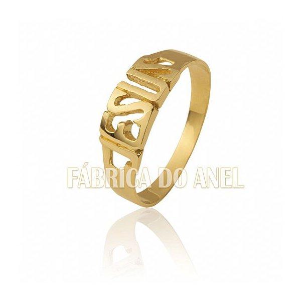 Anel Feminino Jesus em Ouro Amarelo 18k 0,750 AN-01