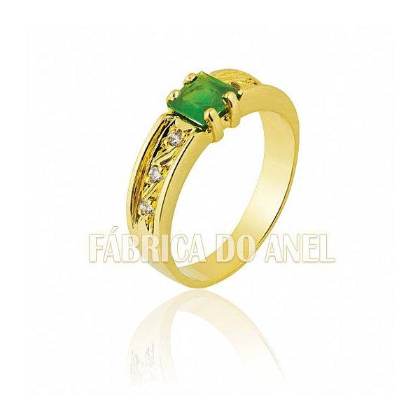 Anel Feminino Esmeralda em Ouro Amarelo 18k 0,750 AN-05-E