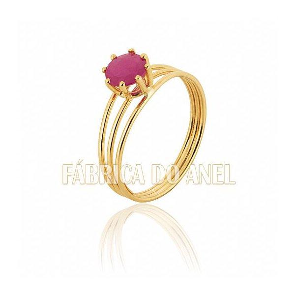 Anel Feminino Rubi em Ouro Amarelo 18k 0,750 AN-11-R