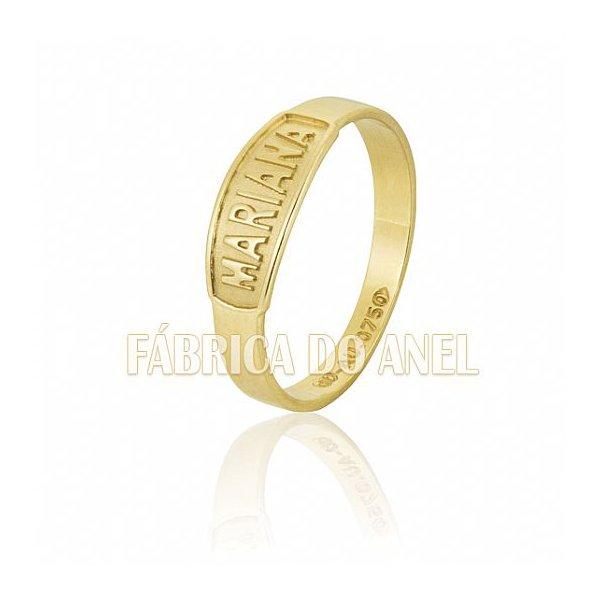 Anel Feminino Nome em Ouro Amarelo 18k 0,750 AN-108